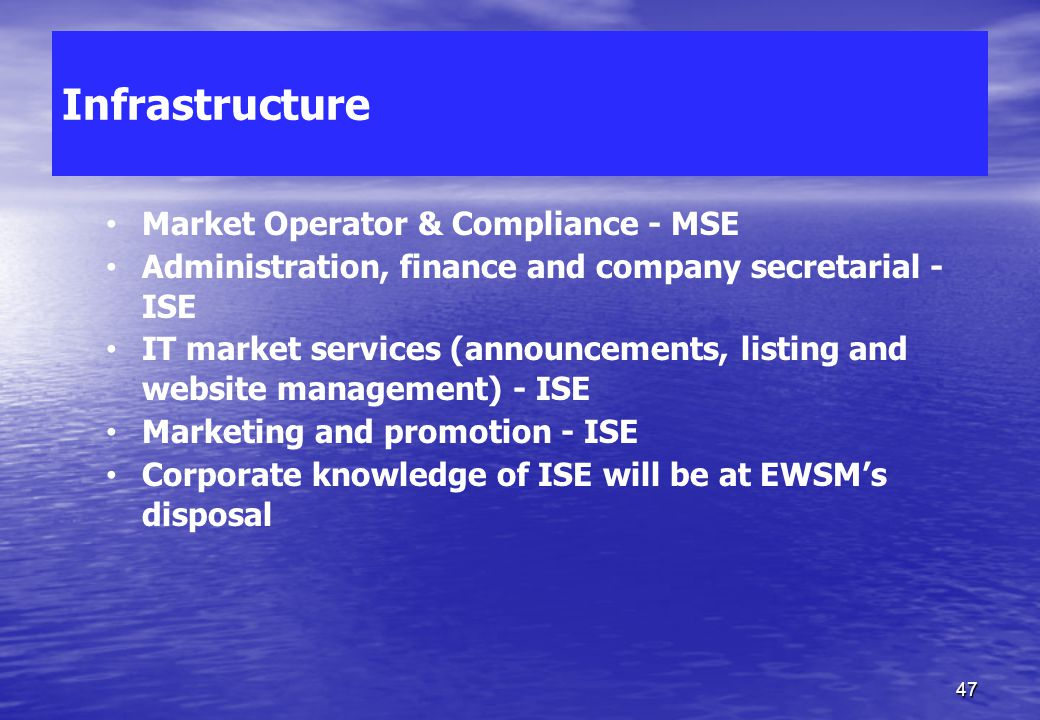 EWSM Overview EWSM MFSA Competent Authority Market Supervisor ISE Marketing, Infrastructure & Corporate Services MSE Market Operator Listing Agent & A