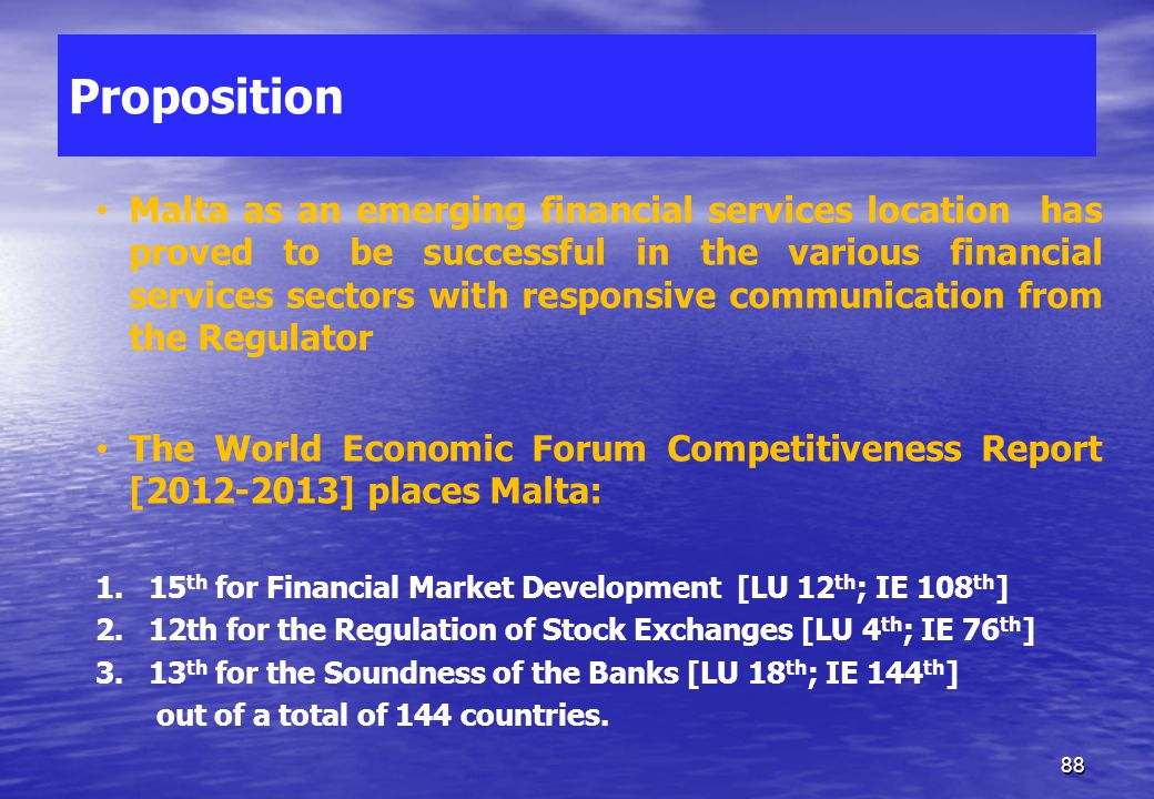 Malta and the EU Creating a finance centre – Ancillary Services 87