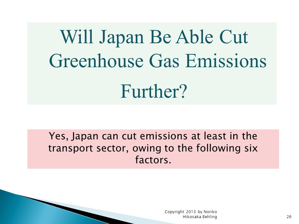 Copyright 2013 by Noriko Hikosaka Behling26 Will Japan Be Able Cut Greenhouse Gas Emissions Further.