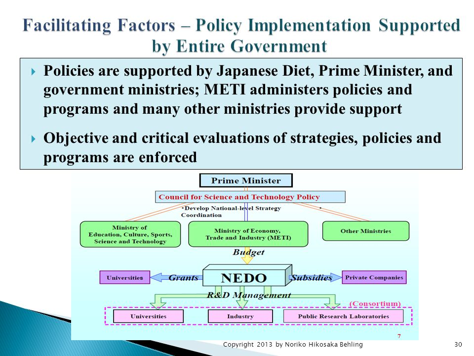 Copyright 2013 by Noriko Hikosaka Behling30  Policies are supported by Japanese Diet, Prime Minister, and government ministries; METI administers policies and programs and many other ministries provide support  Objective and critical evaluations of strategies, policies and programs are enforced