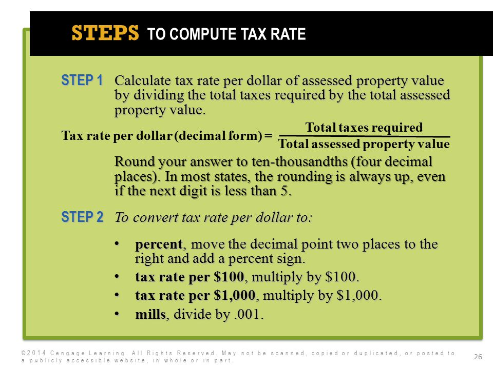 7e STEPS 26 STEP 1 Calculate tax rate per dollar of assessed property value by dividing the total taxes required by the total assessed property value.