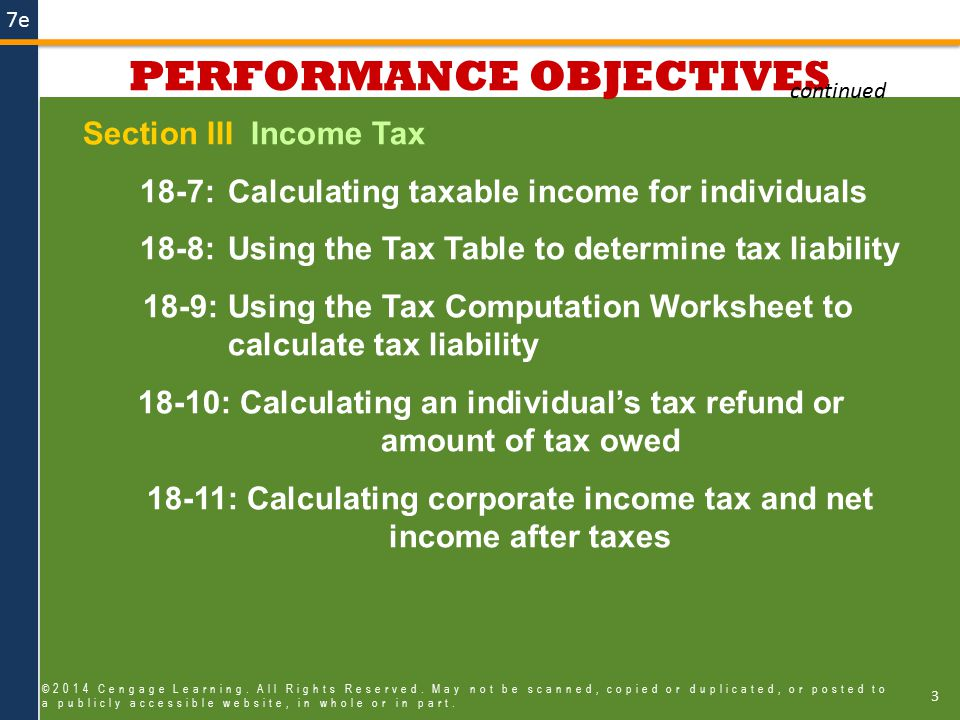 7e Using the Tax Table to Determine Liability 34 ©2014 Cengage Learning.