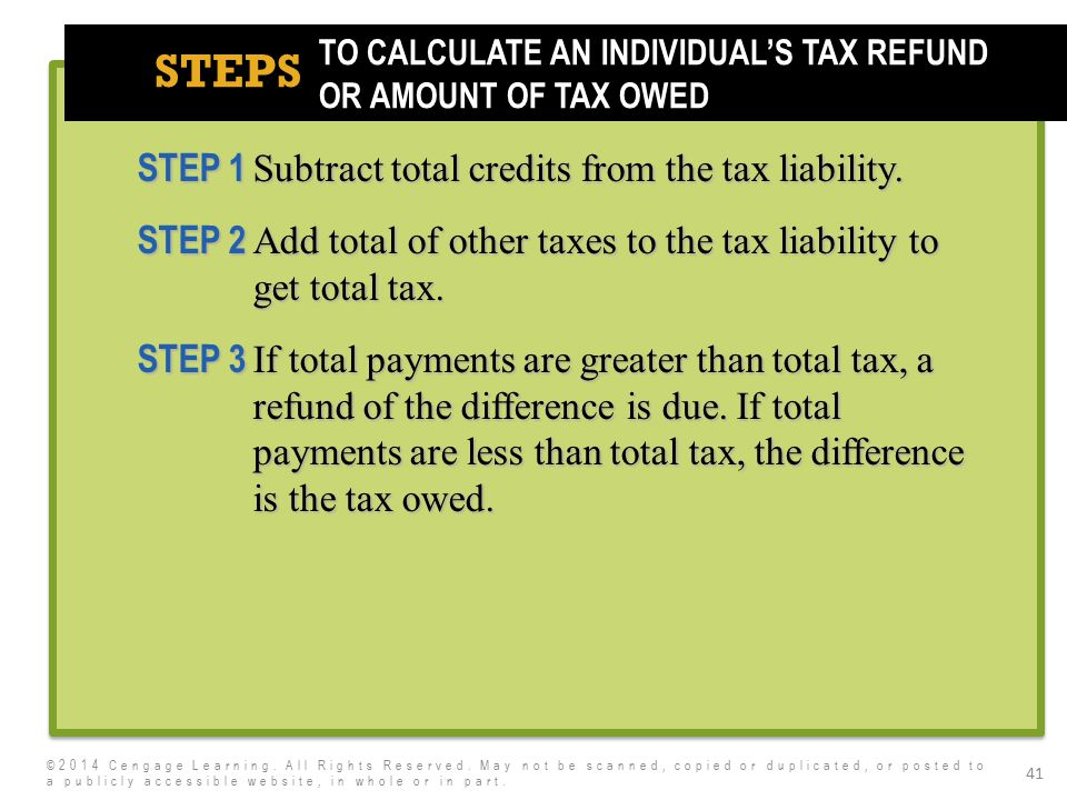 7e STEPS 41 STEP 1 Subtract total credits from the tax liability. STEP 2 Add total of other taxes to the tax liability to get total tax. STEP 3 If tot