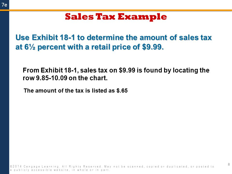 7e Property Tax as a Percent Example 19 ©2014 Cengage Learning.