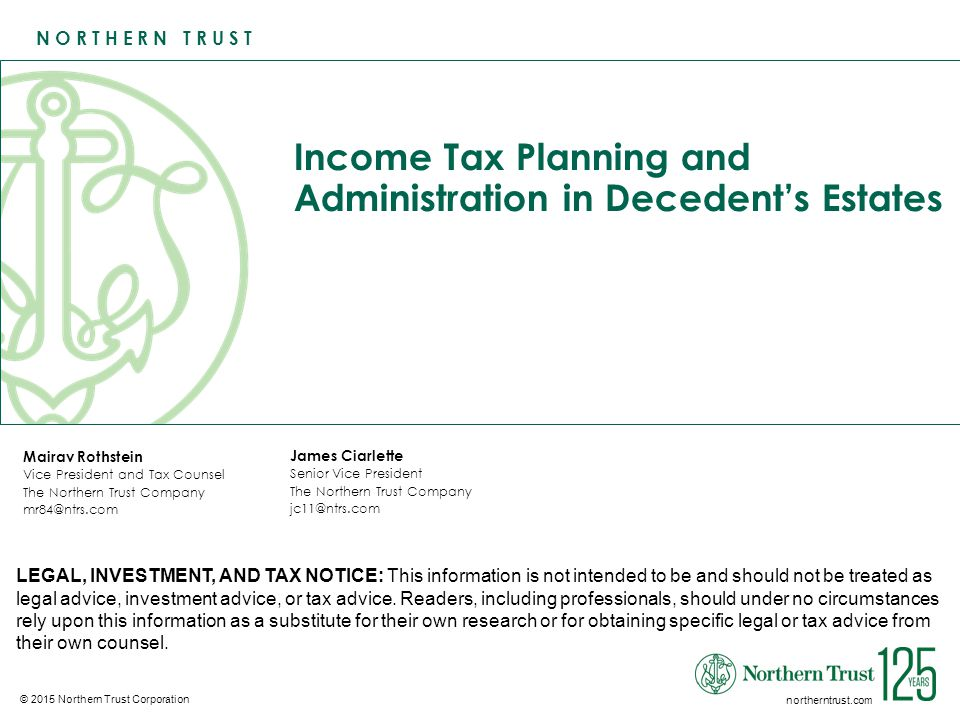 12Income Tax Planning and Administration in Decedent's Estates Income Tax Rules Unique to Decedent's Estates Code Section 691 – Taxation of Income in Respect of a Decedent The following are items are income in respect of a decedent: The decedent's income accrued during her lifetime, but, because it was not collected before she died, it was not includible in her final return.