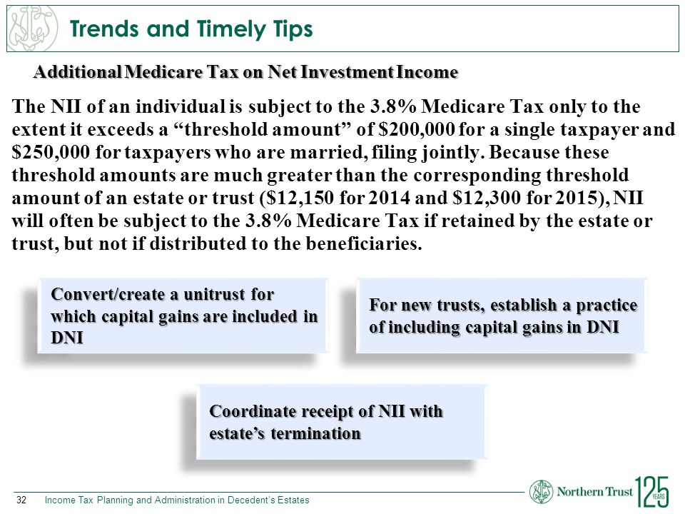 32Income Tax Planning and Administration in Decedent's Estates Additional Medicare Tax on Net Investment Income Trends and Timely Tips The NII of an i