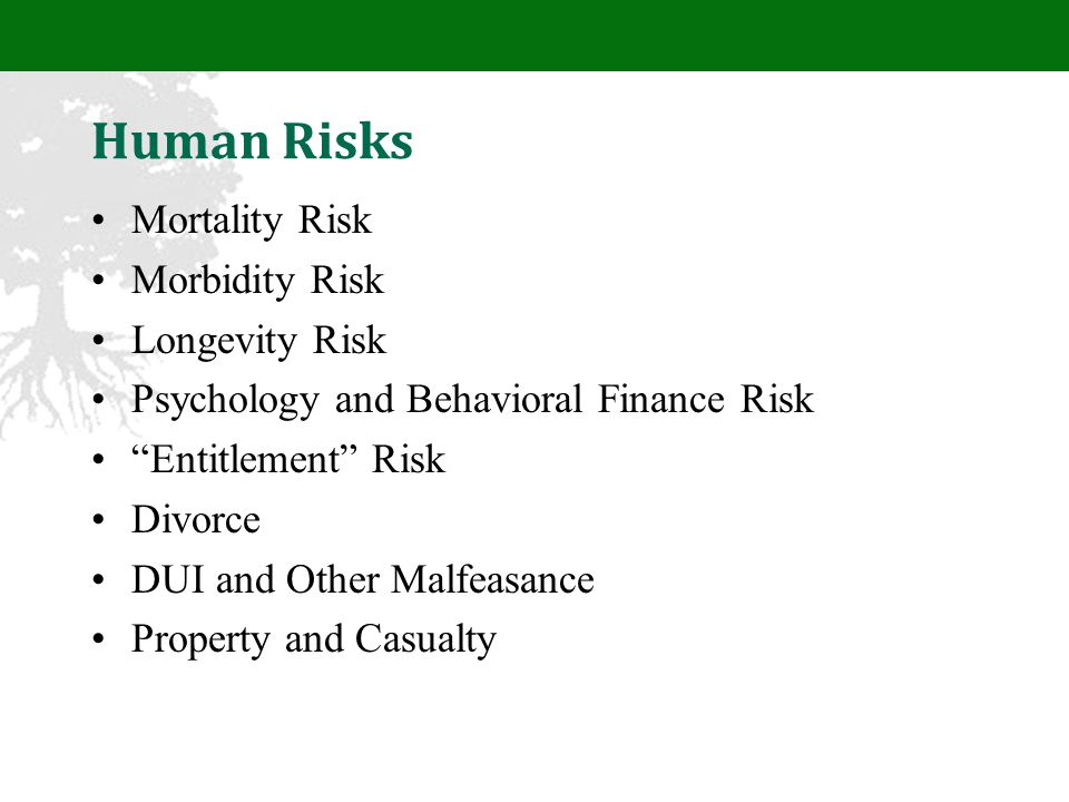Human Risks Mortality Risk Morbidity Risk Longevity Risk Psychology and Behavioral Finance Risk Entitlement Risk Divorce DUI and Other Malfeasance Property and Casualty