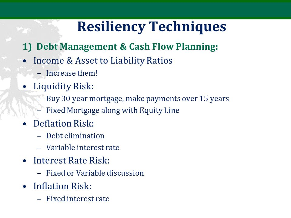 Resiliency Techniques 1) Debt Management & Cash Flow Planning: Income & Asset to Liability Ratios –Increase them.