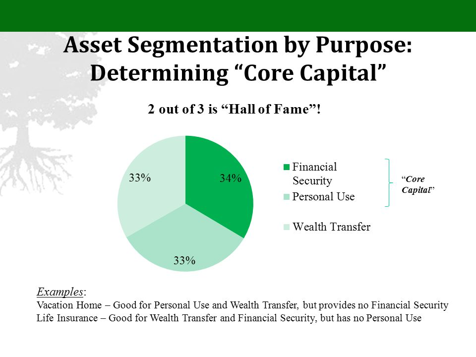 Asset Segmentation by Purpose: Determining Core Capital Examples: Vacation Home – Good for Personal Use and Wealth Transfer, but provides no Financial Security Life Insurance – Good for Wealth Transfer and Financial Security, but has no Personal Use Core Capital