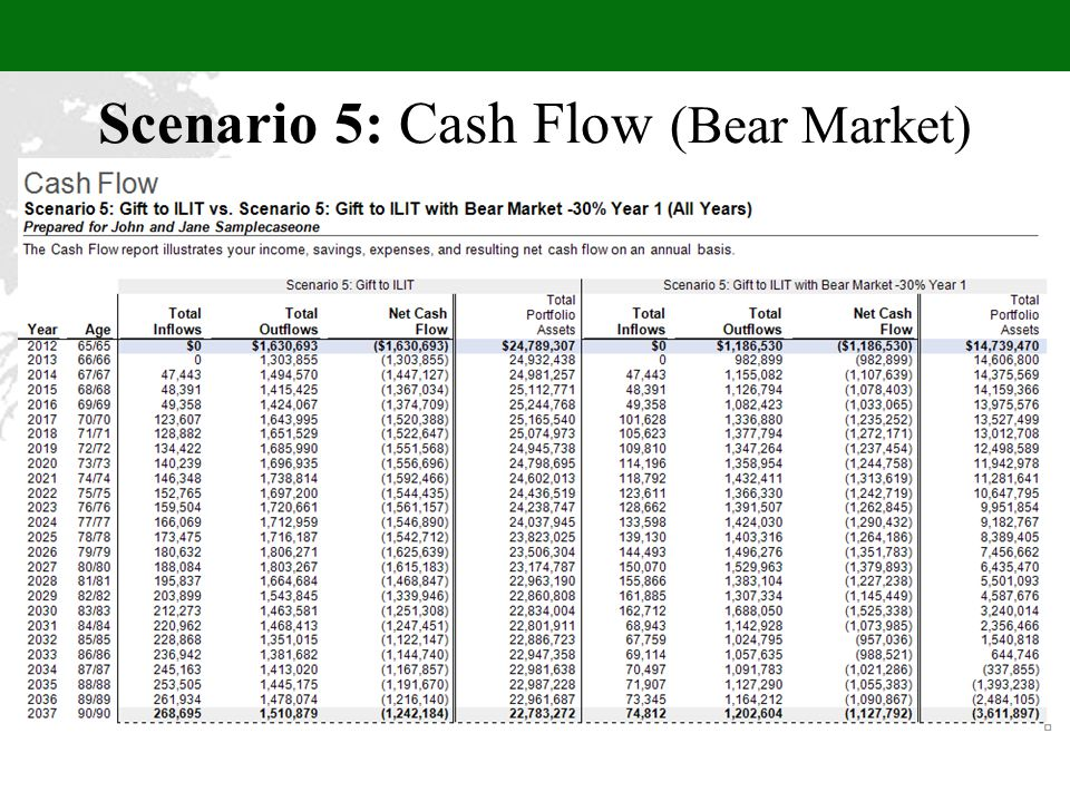 Scenario 5: Cash Flow (Bear Market)
