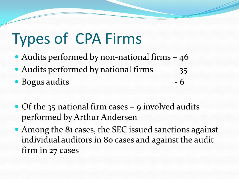 Types of CPA Firms Audits performed by non-national firms – 46 Audits performed by national firms - 35 Bogus audits - 6 Of the 35 national firm cases – 9 involved audits performed by Arthur Andersen Among the 81 cases, the SEC issued sanctions against individual auditors in 80 cases and against the audit firm in 27 cases