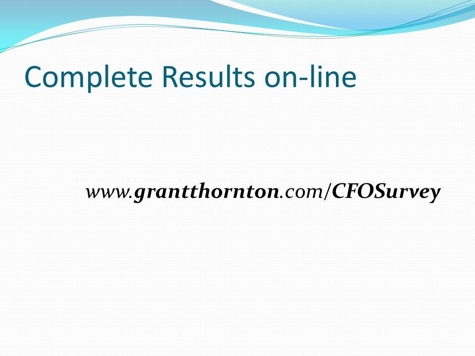 Complete Results on-line www.grantthornton.com/CFOSurvey