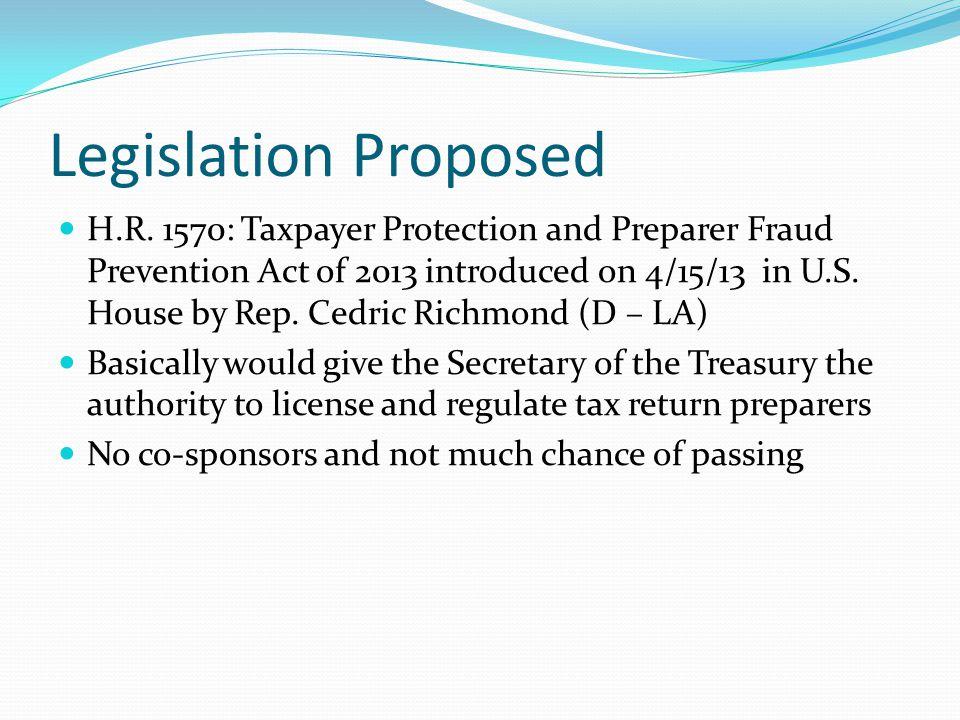 Legislation Proposed H.R.