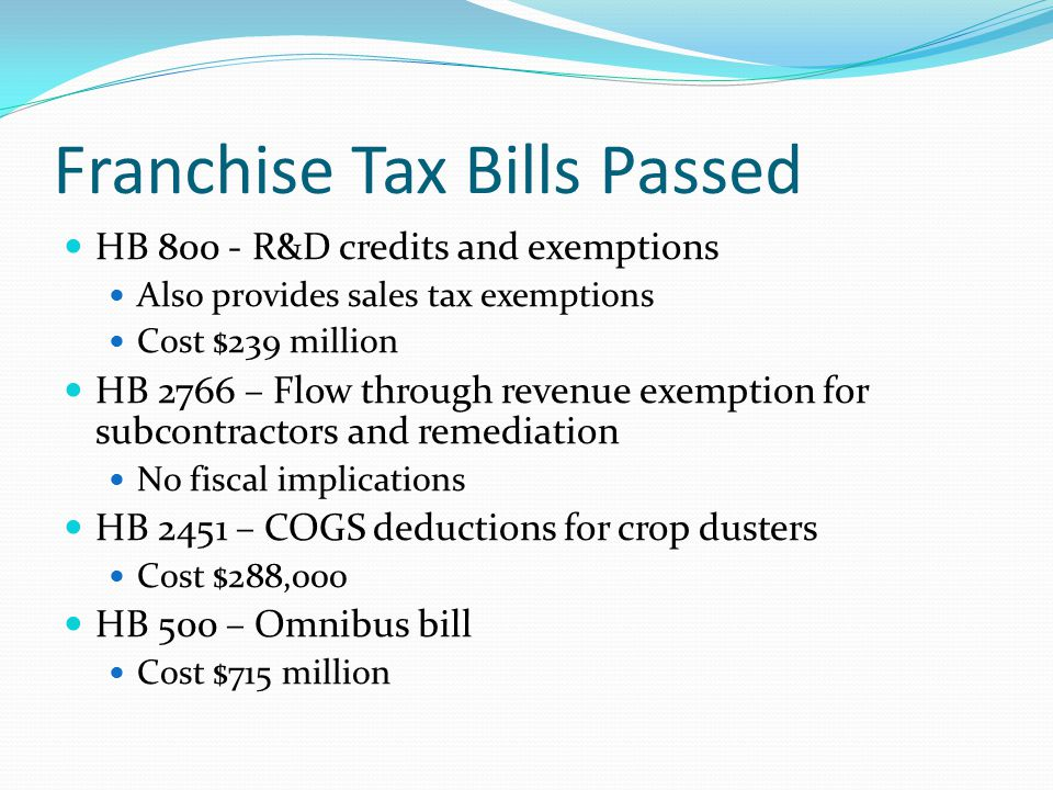 Franchise Tax Bills Passed HB 800 - R&D credits and exemptions Also provides sales tax exemptions Cost $239 million HB 2766 – Flow through revenue exemption for subcontractors and remediation No fiscal implications HB 2451 – COGS deductions for crop dusters Cost $288,000 HB 500 – Omnibus bill Cost $715 million