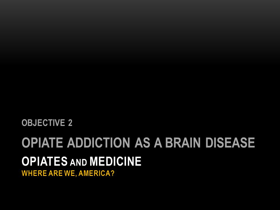 OPIATES AND MEDICINE WHERE ARE WE, AMERICA? OBJECTIVE 2 OPIATE ADDICTION AS A BRAIN DISEASE