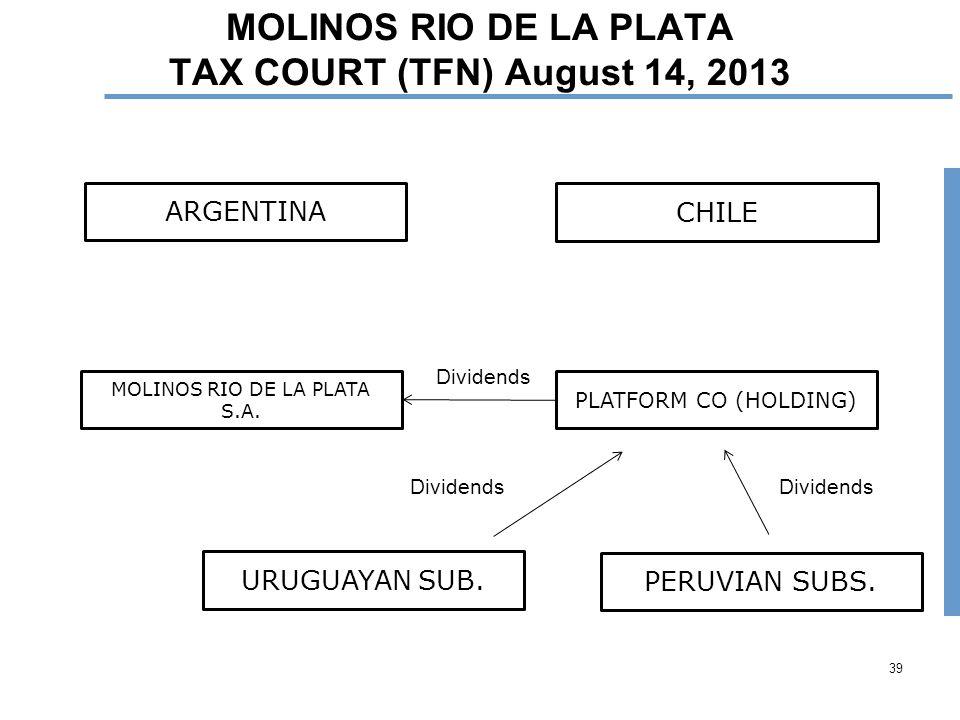 39 MOLINOS RIO DE LA PLATA TAX COURT (TFN) August 14, 2013 ARGENTINA URUGUAYAN SUB.
