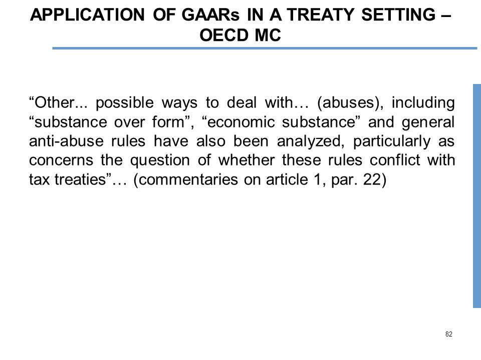 82 APPLICATION OF GAARs IN A TREATY SETTING – OECD MC Other...