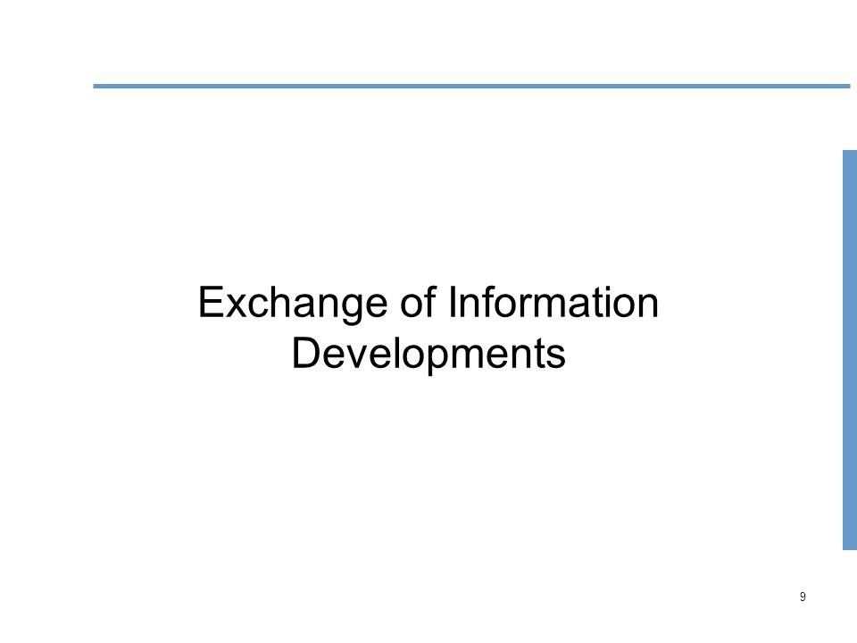 9 Exchange of Information Developments