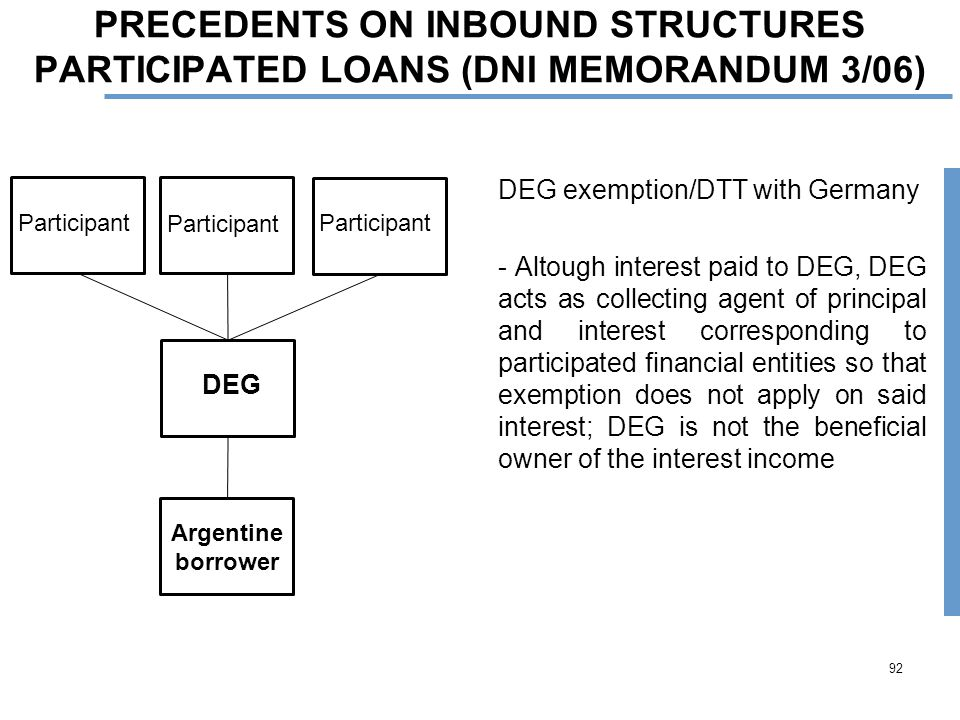 PRECEDENTS ON INBOUND STRUCTURES PARTICIPATED LOANS (DNI MEMORANDUM 3/06) DEG exemption/DTT with Germany - Altough interest paid to DEG, DEG acts as collecting agent of principal and interest corresponding to participated financial entities so that exemption does not apply on said interest; DEG is not the beneficial owner of the interest income 92 Argentine borrower DEG Participant