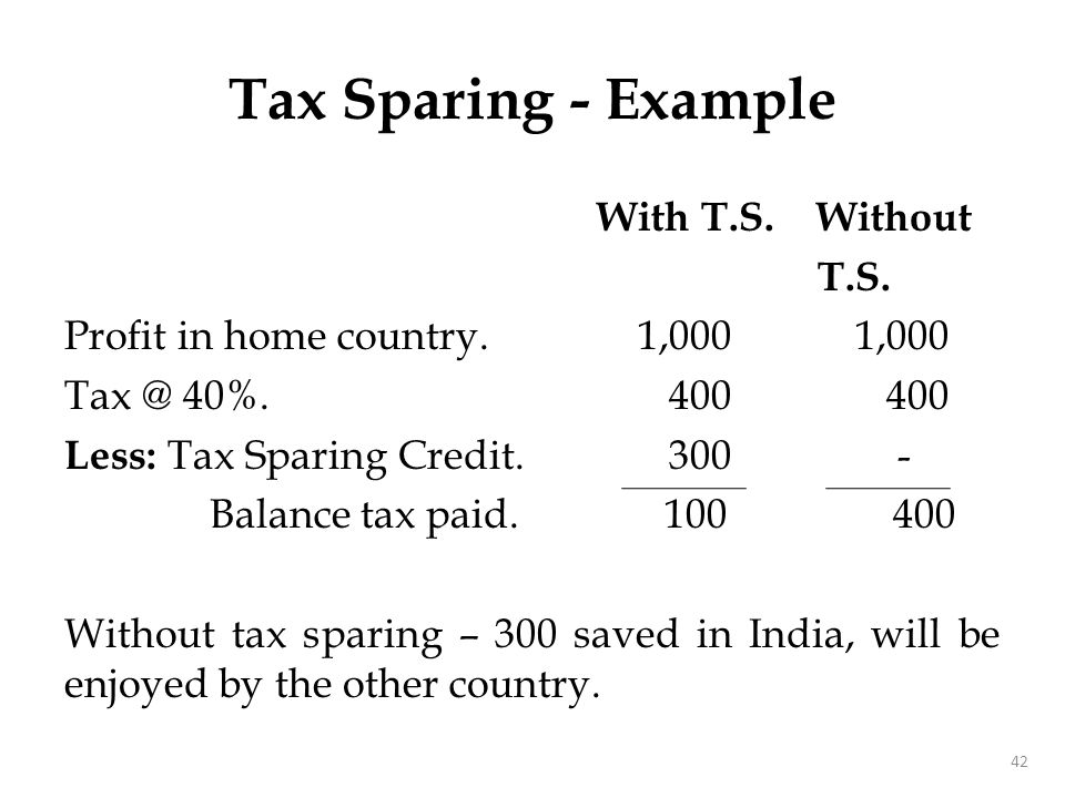 Tax Sparing - Example With T.S. Without T.S. Profit in home country. 1,000 1,000 Tax @ 40%. 400 400 Less: Tax Sparing Credit. 300 - Balance tax paid.