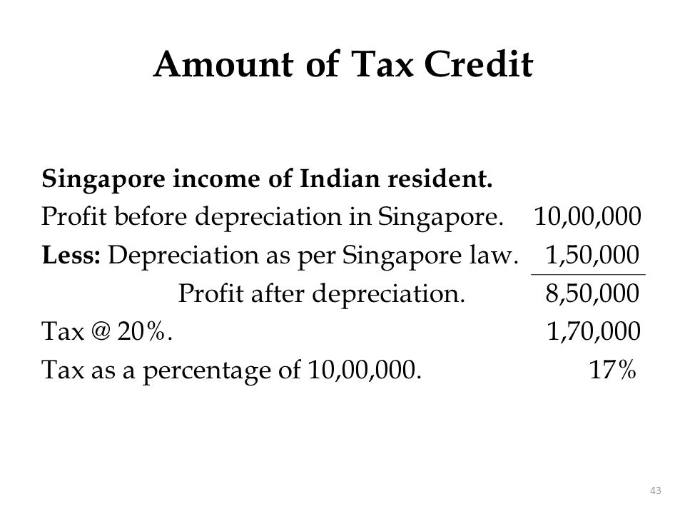 Singapore income of Indian resident. Profit before depreciation in Singapore. 10,00,000 Less: Depreciation as per Singapore law. 1,50,000 Profit after