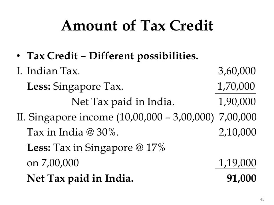 Tax Credit – Different possibilities. I.Indian Tax. 3,60,000 Less: Singapore Tax. 1,70,000 Net Tax paid in India. 1,90,000 II. Singapore income (10,00