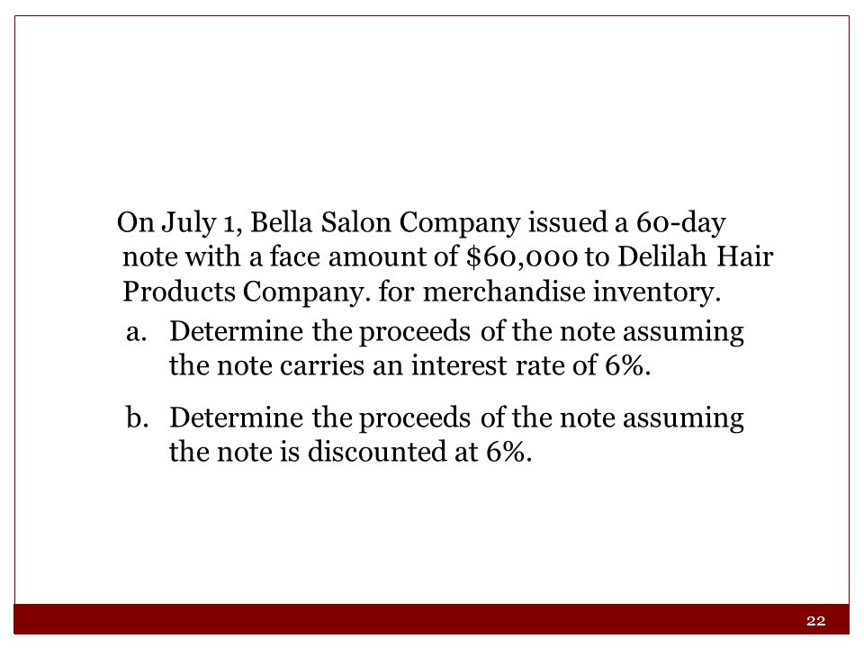 22 On July 1, Bella Salon Company issued a 60-day note with a face amount of $60,000 to Delilah Hair Products Company.