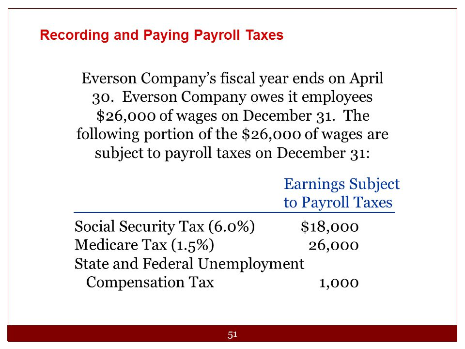 51 Recording and Paying Payroll Taxes Everson Company's fiscal year ends on April 30. Everson Company owes it employees $26,000 of wages on December 3