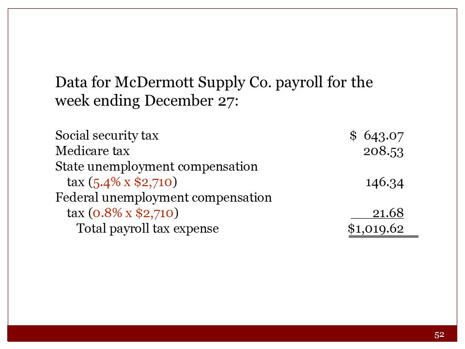 52 Data for McDermott Supply Co.