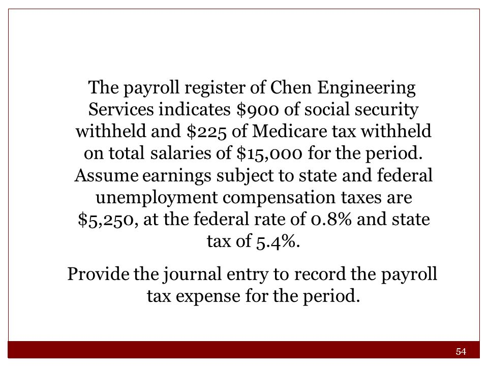 54 The payroll register of Chen Engineering Services indicates $900 of social security withheld and $225 of Medicare tax withheld on total salaries of $15,000 for the period.