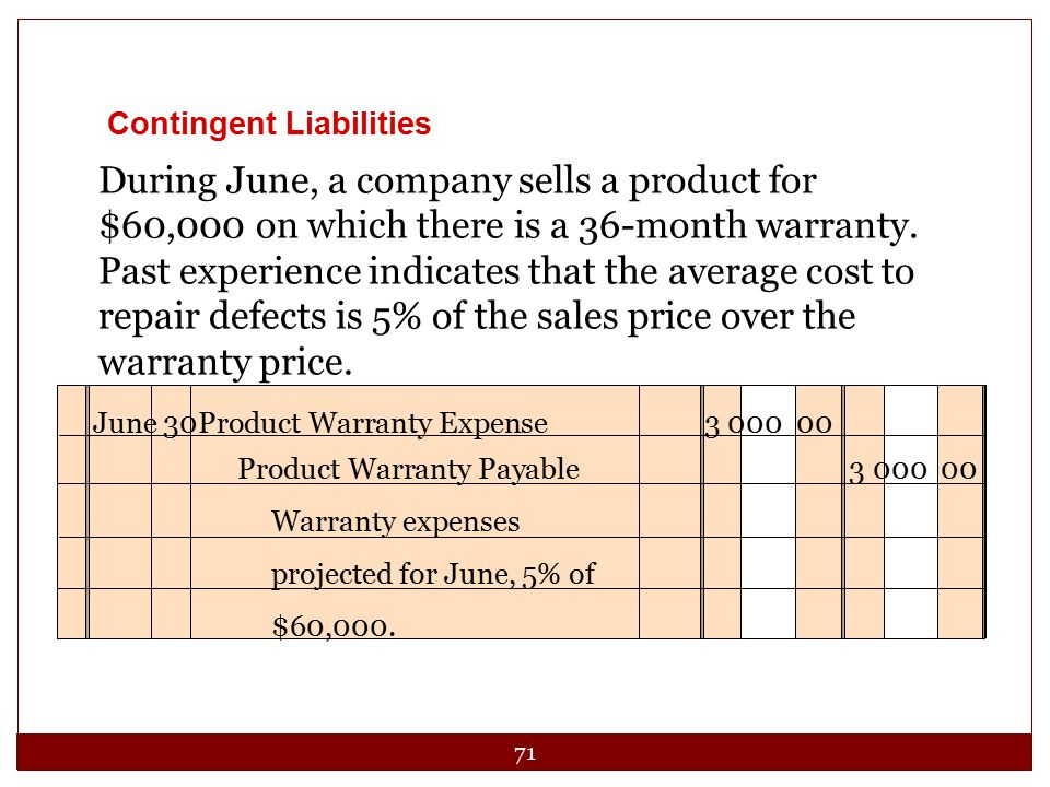 71 During June, a company sells a product for $60,000 on which there is a 36-month warranty.