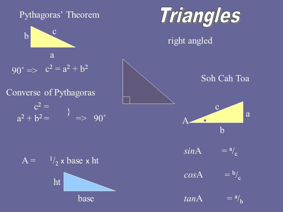Pythagoras' Theorem Soh Cah Toa c a b c 2 = a 2 + b 2 c a b sinA A cosA tanA = a / c = b / c = a / b A = 1 / 2 x base x ht right angled base ht 90˚ => Converse of Pythagoras => 90˚ c 2 = a 2 + b 2 = }