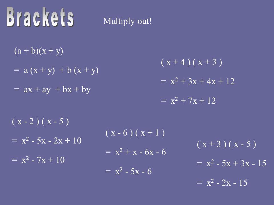 Multiply out! (a + b)(x + y) = a (x + y) + b (x + y) = ax + ay + bx + by ( x + 4 ) ( x + 3 ) = x 2 + 3x + 4x + 12 = x 2 + 7x + 12 ( x - 2 ) ( x - 5 )