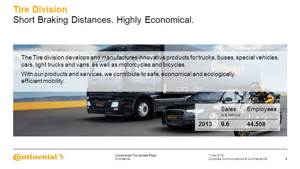 Confidential Continental Tire Sumter Plant › The Tire division develops and manufactures innovative products for trucks, buses, special vehicles, cars, light trucks and vans, as well as motorcycles and bicycles.