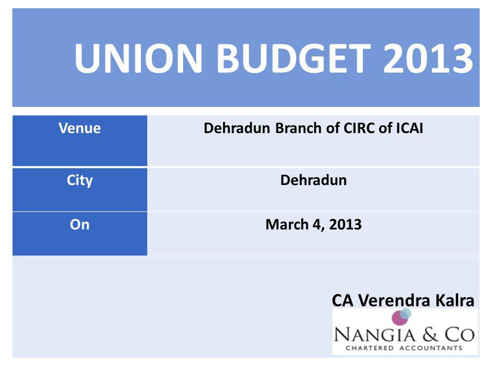 UNION BUDGET 2013 CA Verendra Kalra VenueDehradun Branch of CIRC of ICAI CityDehradun OnMarch 4, 2013