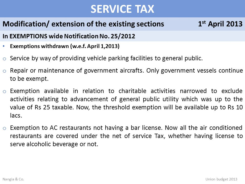 SERVICE TAX Modification/ extension of the existing sections1 st April 2013 In EXEMPTIONS wide Notification No.