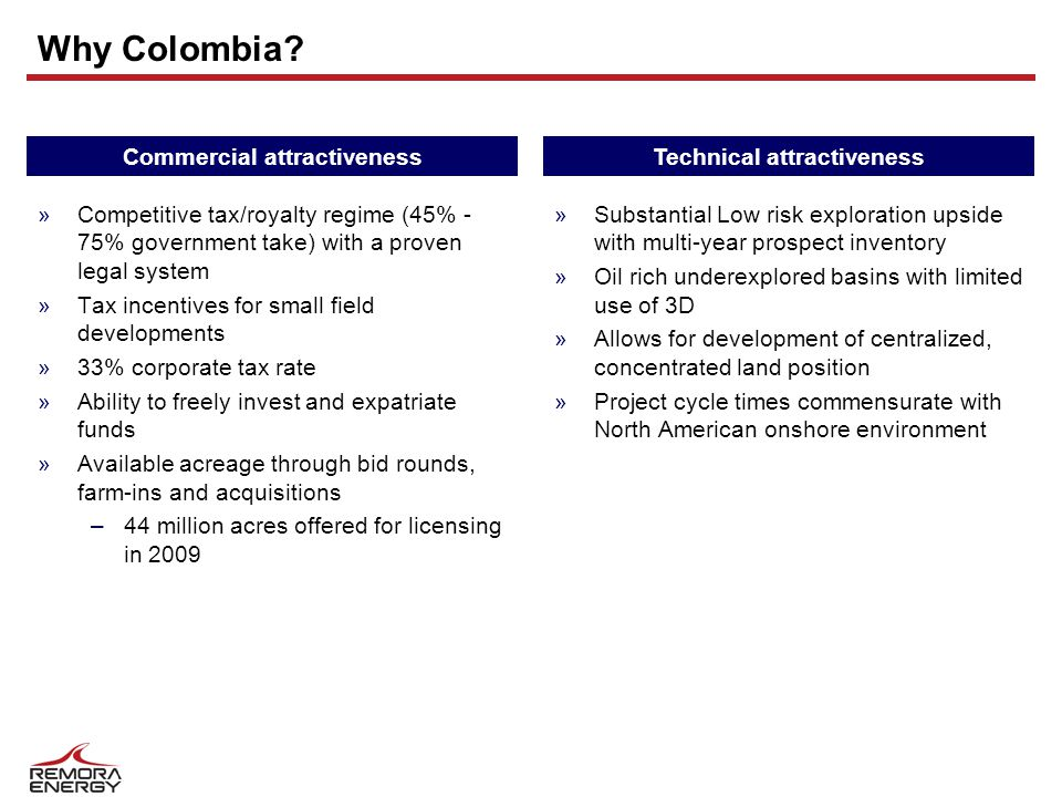 Why Colombia? »Competitive tax/royalty regime (45% - 75% government take) with a proven legal system »Tax incentives for small field developments »33%