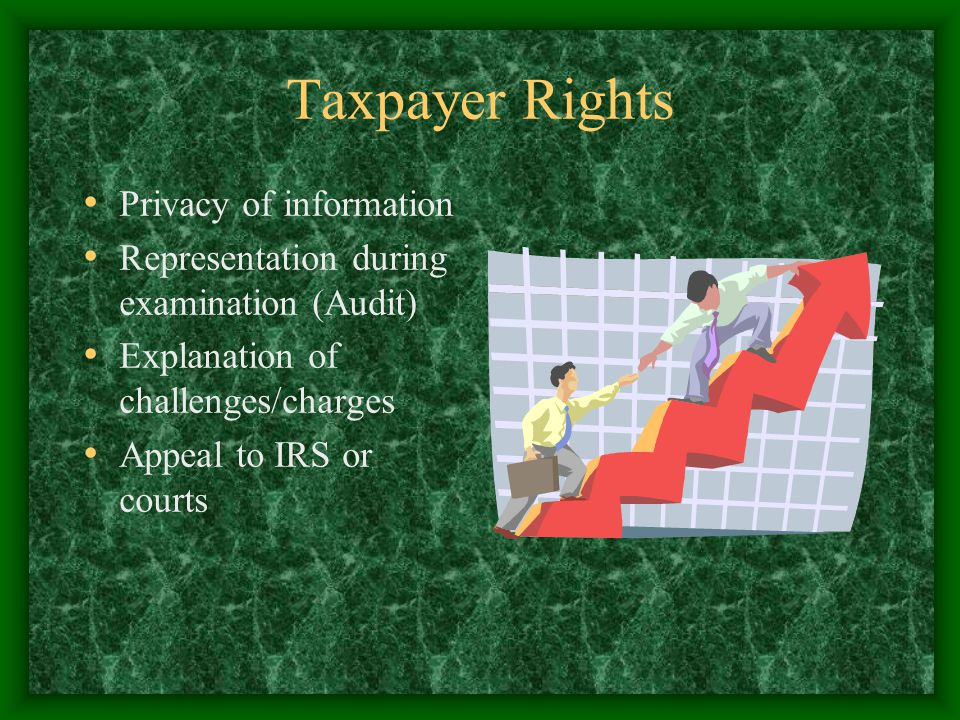 Taxpayer Rights Privacy of information Representation during examination (Audit) Explanation of challenges/charges Appeal to IRS or courts