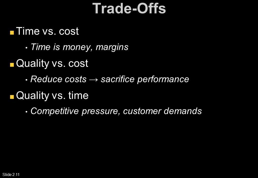 Slide 2.11 Trade-Offs Time vs. cost Time is money, margins Quality vs.