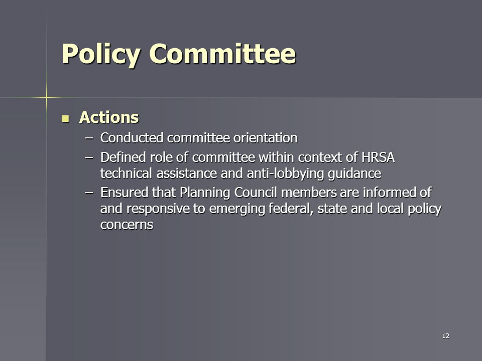 Policy Committee Actions Actions –Conducted committee orientation –Defined role of committee within context of HRSA technical assistance and anti-lobbying guidance –Ensured that Planning Council members are informed of and responsive to emerging federal, state and local policy concerns 12