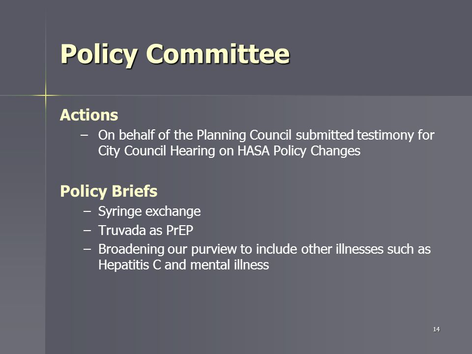 Policy Committee Actions – –On behalf of the Planning Council submitted testimony for City Council Hearing on HASA Policy Changes Policy Briefs – –Syringe exchange – –Truvada as PrEP – –Broadening our purview to include other illnesses such as Hepatitis C and mental illness 14
