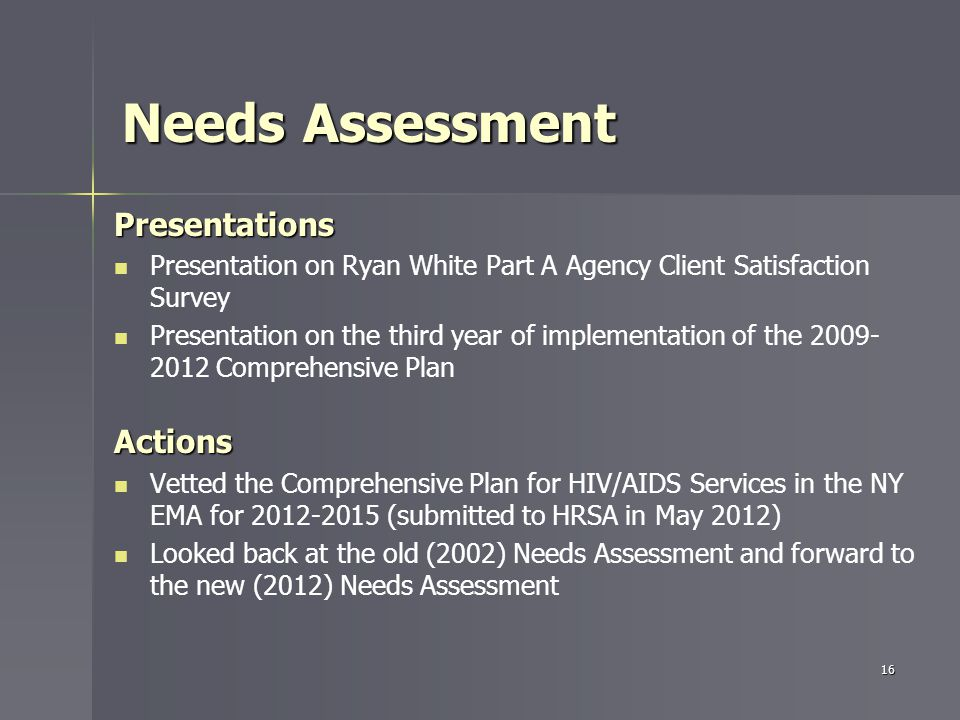 Needs Assessment Presentations Presentation on Ryan White Part A Agency Client Satisfaction Survey Presentation on the third year of implementation of the 2009- 2012 Comprehensive PlanActions Vetted the Comprehensive Plan for HIV/AIDS Services in the NY EMA for 2012-2015 (submitted to HRSA in May 2012) Looked back at the old (2002) Needs Assessment and forward to the new (2012) Needs Assessment 16
