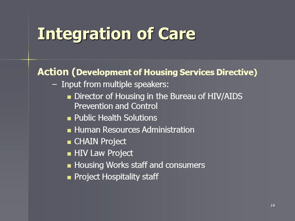 Integration of Care Action ( Development of Housing Services Directive) – –Input from multiple speakers: Director of Housing in the Bureau of HIV/AIDS Prevention and Control Public Health Solutions Human Resources Administration CHAIN Project HIV Law Project Housing Works staff and consumers Project Hospitality staff 18