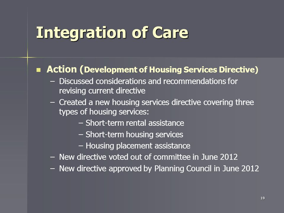 Integration of Care Action ( Development of Housing Services Directive) – –Discussed considerations and recommendations for revising current directive – –Created a new housing services directive covering three types of housing services: – –Short-term rental assistance – –Short-term housing services – –Housing placement assistance – –New directive voted out of committee in June 2012 – –New directive approved by Planning Council in June 2012 19