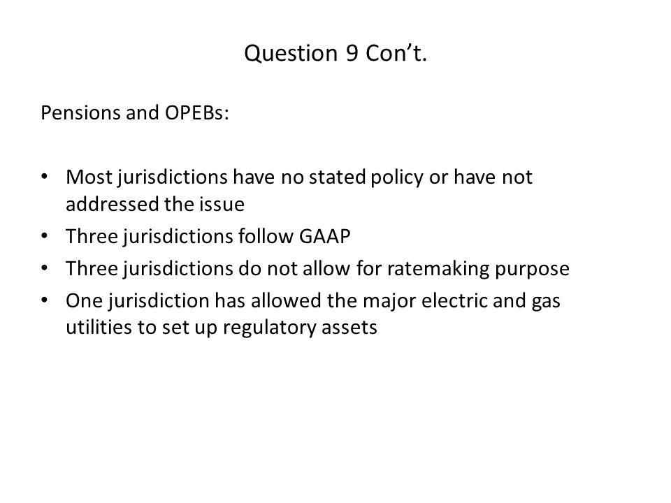 Question 9 Con't.