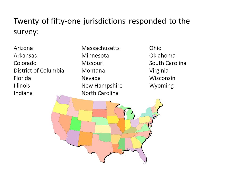 Twenty of fifty-one jurisdictions responded to the survey: ArizonaMassachusettsOhio ArkansasMinnesotaOklahoma ColoradoMissouriSouth Carolina District