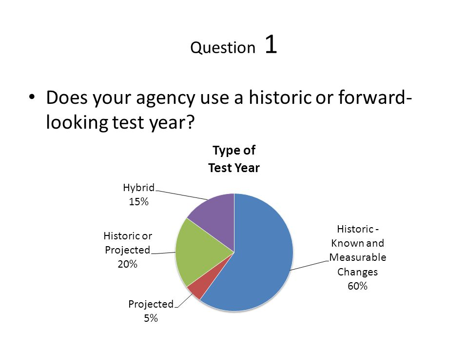 Question 1 Does your agency use a historic or forward- looking test year