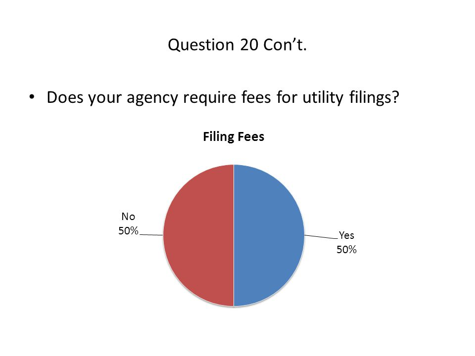 Question 20 Con't. Does your agency require fees for utility filings