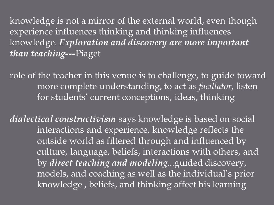 knowledge is not a mirror of the external world, even though experience influences thinking and thinking influences knowledge. Exploration and discove