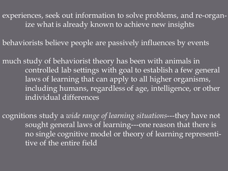 Knowledge knowledge guides new learning, according to cognitions cognitive approach suggests existing knowledge affects what we will pay attention to, perceive, learn, remember, and forget,...